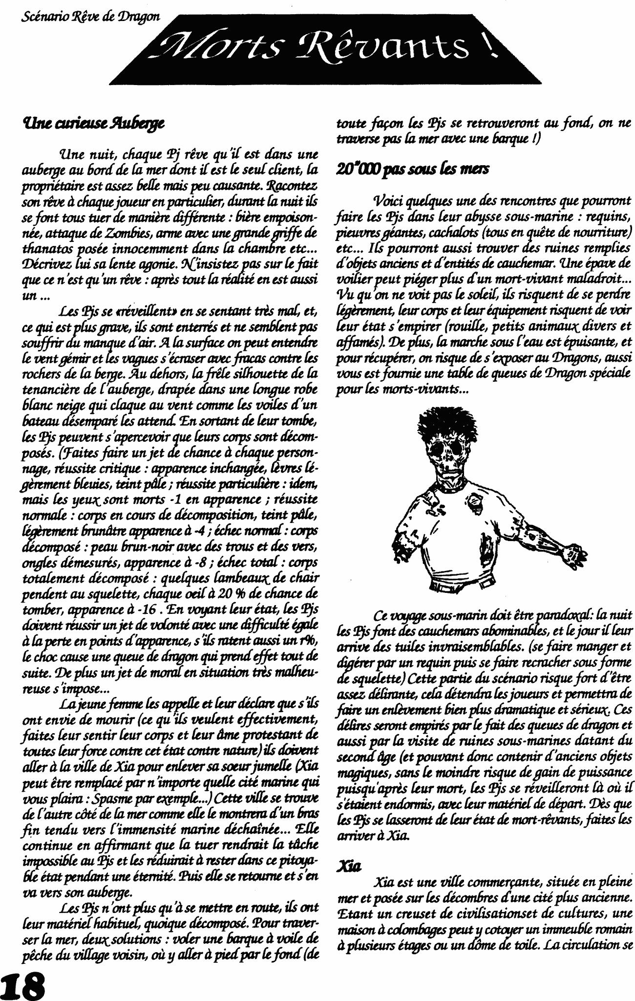 Première Page du Scénario Rêve de Dragon 'Mort-Rêvants'
