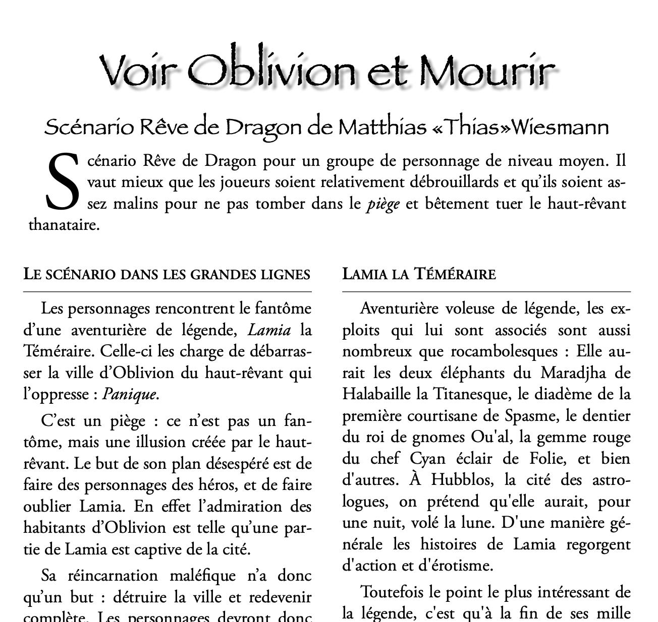 Voir Oblivion et Mourir