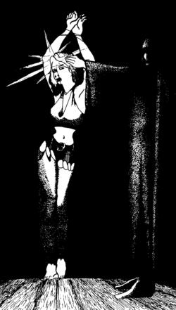 Une femme entravée avec une gemme incrustée dans le front