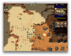 Screen Capture of Open-RA with a skirmish in Dune 2000