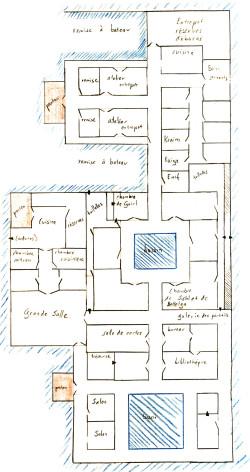 Plan d'un grand palais au milieu de l'eau