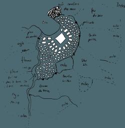 Plan d'une ville au bord d'une baie.