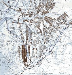 Carte de la gare de Praille et du port Fluvial