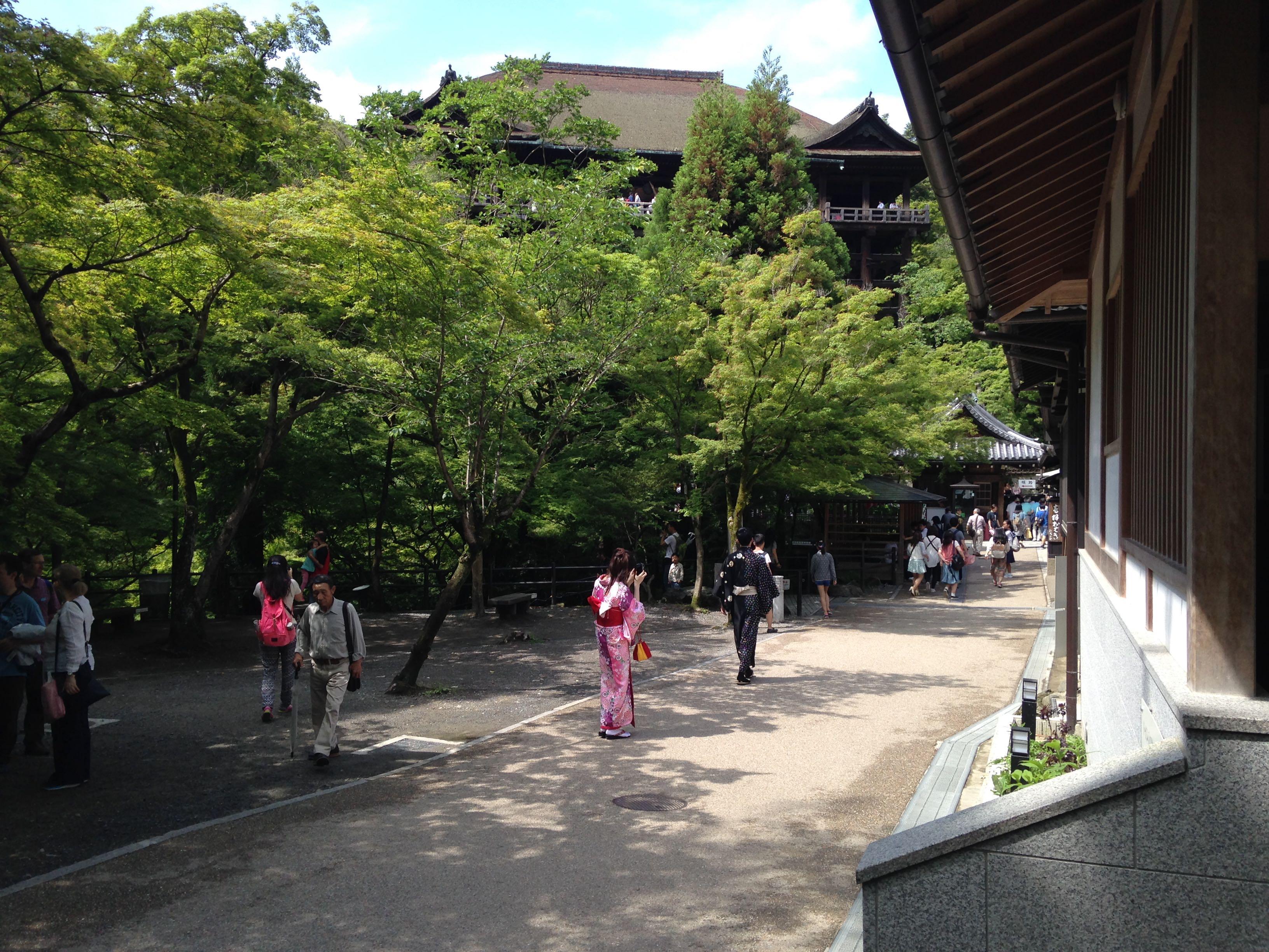 Vue du temple de Kiyomizu avec en avant plan un couple en kimono prenant des photos