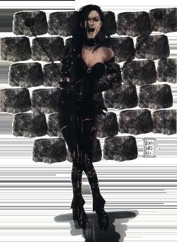Une femme dans une armure de cuir, enchaînée au mur
