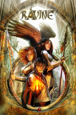 Three characters in front of an ornate ring, a man with glowing fire in his palm, a red-haired woman in armour holding a spear and a black haired woman with the same spear, but with wings a a glow on her brow.