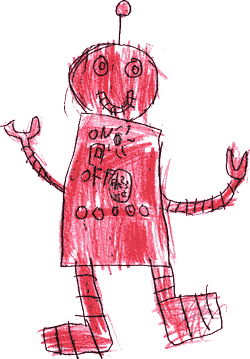 A red robot hand drawn by a child
