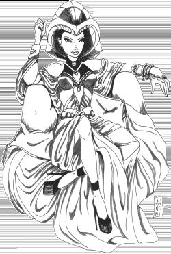 Une femme sur un trône avec une grande coiffe sur la tête