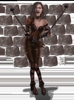 Une femme dans une armure de cuir enchaînée au mur