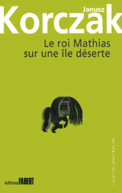 Couverture du livre «Le Roi Mathias sur une île déserte» avec un africain vouté portant un masque hirsute