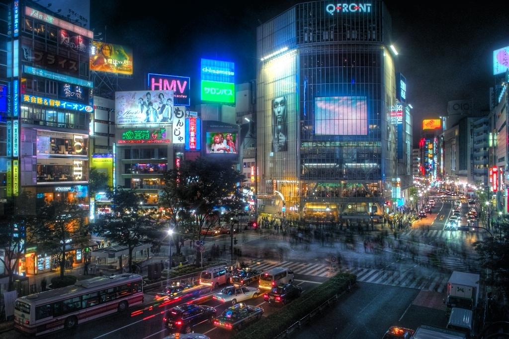 Vue de nuit de Shibuya, à Tōkyō