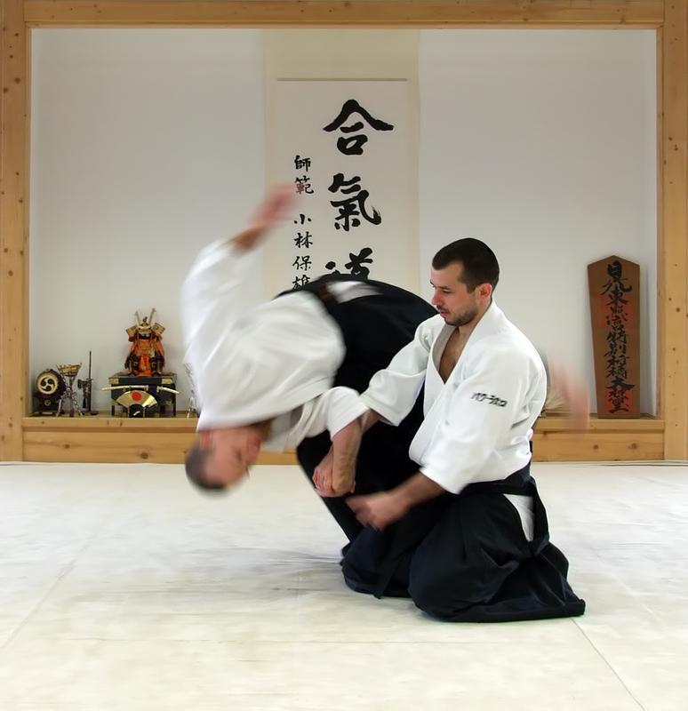 Shihōnage en position han-tachi – nage: Bak László, uke: Czéh Sándor