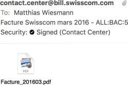 Screen capture showing a cryptographically signed e-mail from Swisscom