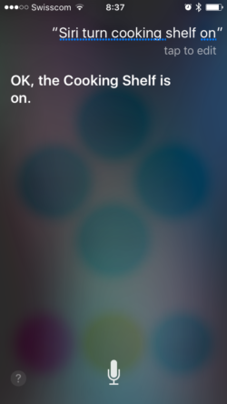 Siri turn cooking shelf on