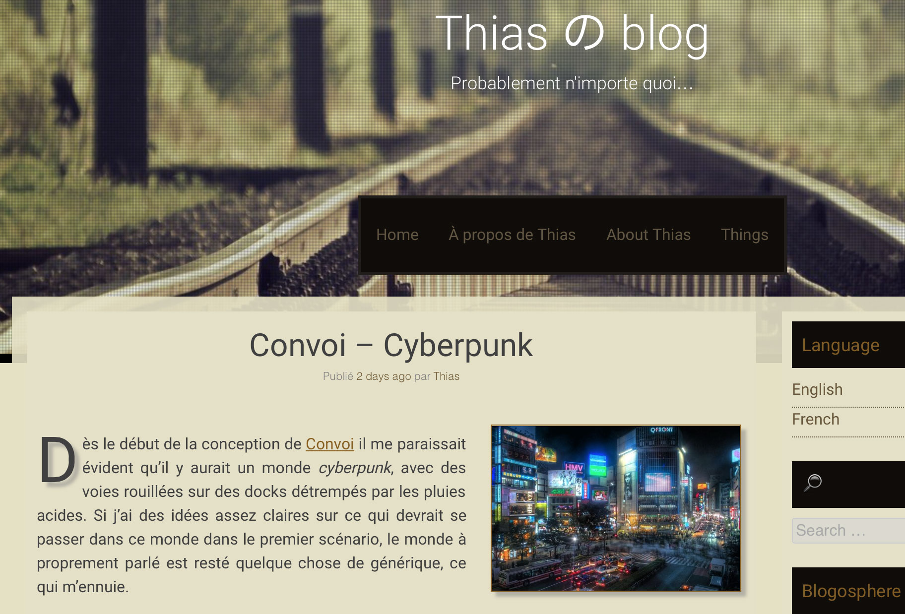 Screenshot a blog post in french with partial localisation