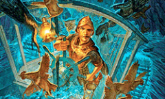 Cover of the Terry Pratchett Book 'Snuff' – Commander Vimes at the wheel of a paddle boat in a storm with a bunch of chicken fleeing.