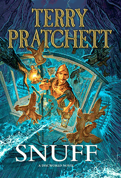 Cover of the Terry Pratchett Book 'Snuff' – Commander Vimes at the wheel of a paddle-boat in a storm with a bunch of chicken fleeing.