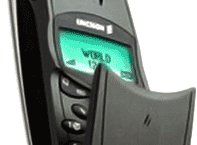 Sideway picture of a clamshell feature phone