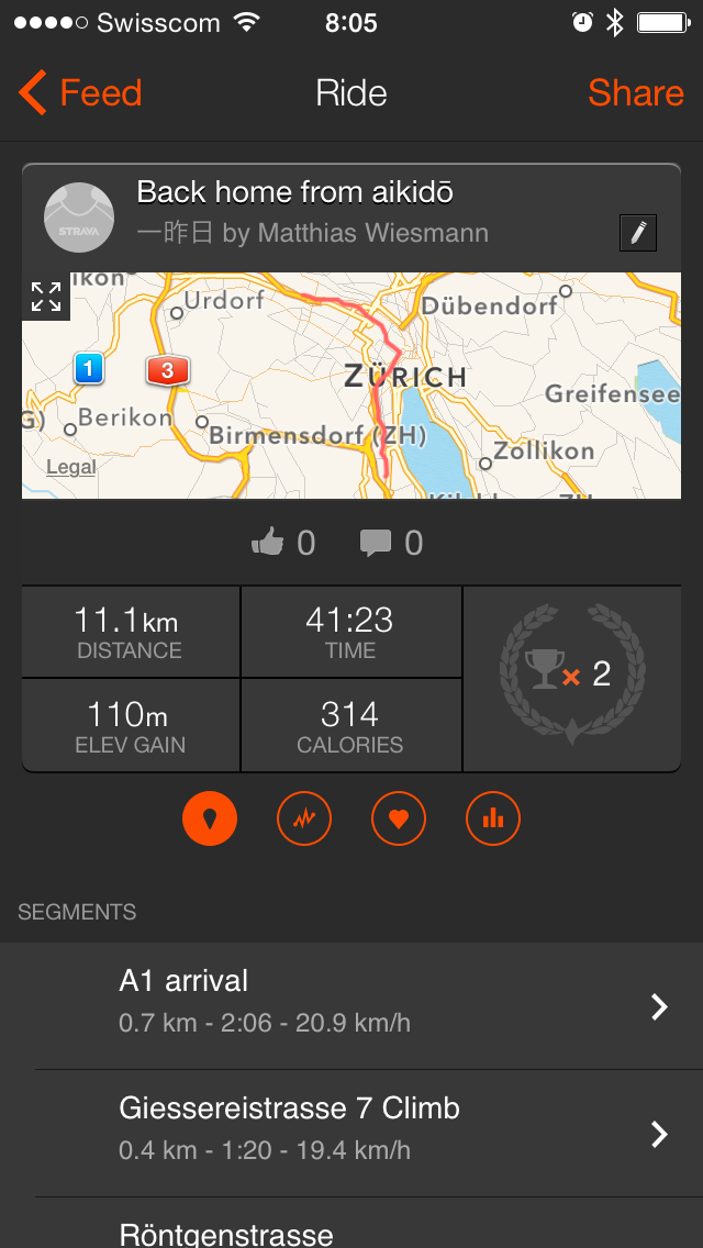 Strava iOS Screen Capture with a map of Zürich and statistics for a ride