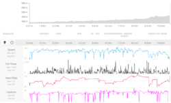 Strava performance graph with Mi Fit2 Heartbeat data