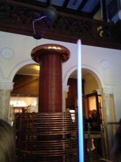 Tesla coil with electrical ark and neon tube glowing