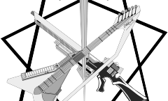 Une épée, une guitare, un fusil devant un heptagramme