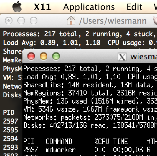 Unix top command running in xterm (X11) and the native terminal app with retina resolution