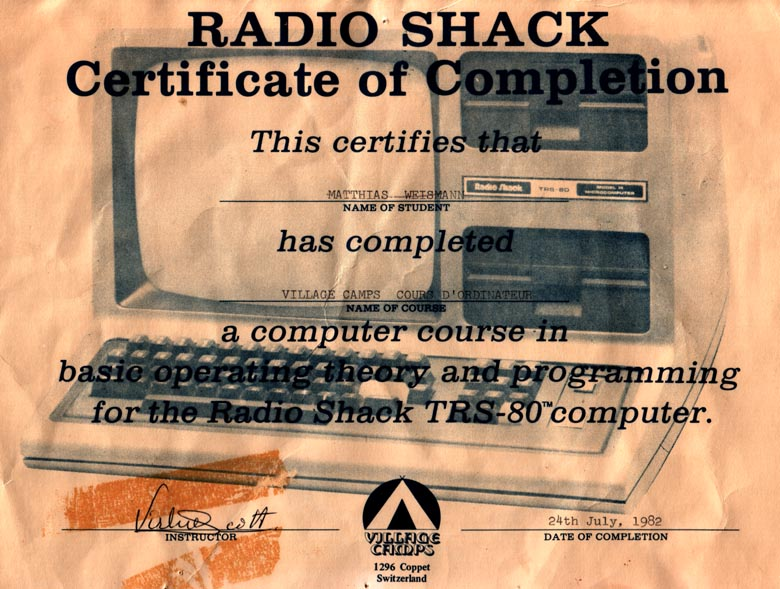 TRS-80 Programming certificate