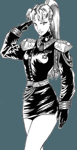 Une highlander en uniforme en train de saluer
