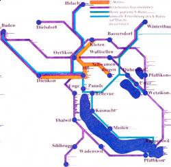 Plan du Métro à Zürich en 1973