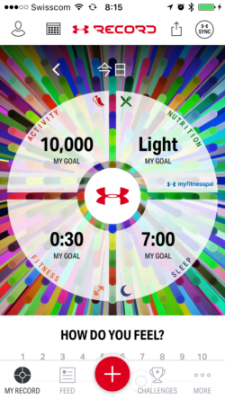 Start Screen of UnderArmour's Record App
