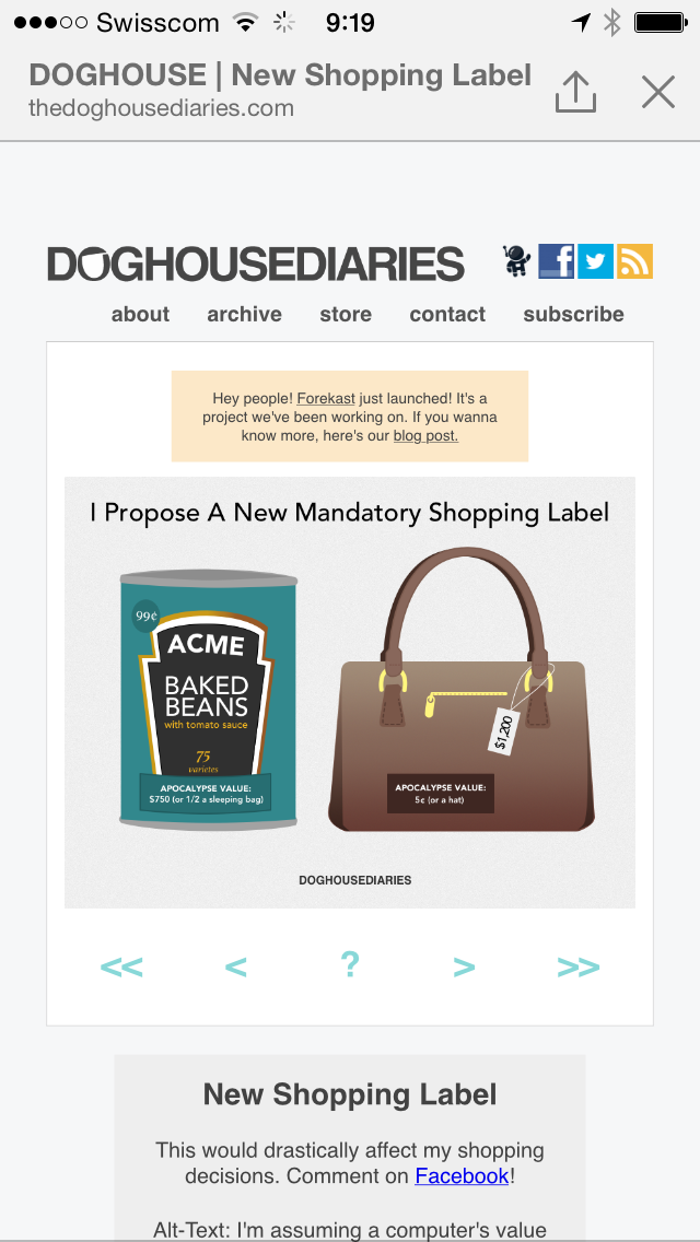 Screen capture of a web view of a proposal for an apocalypse shopping value label