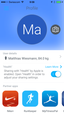Withings App – Profile view